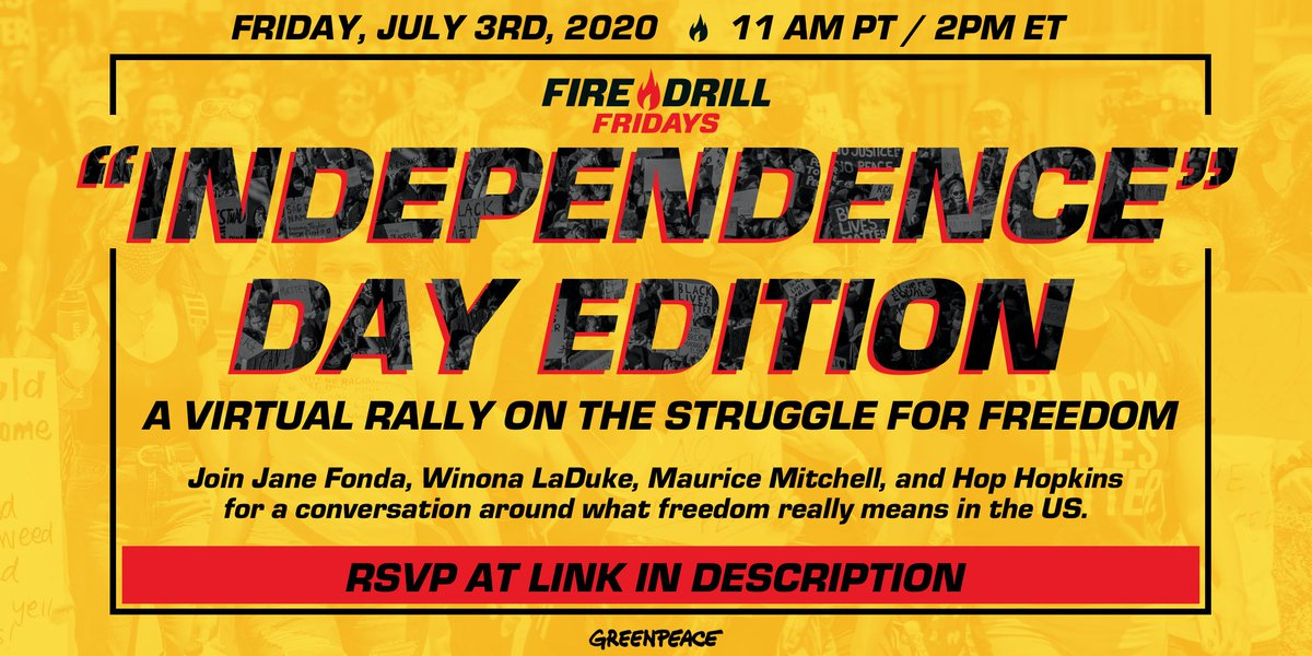 """Our special """"Independence"""" Day Virtual Rally is TOMORROW. Please join us, @Janefonda, @WinonaLaduke, Hop Hopkins, and @MauriceWFP at 11am PT/2pm ET. https://t.co/ityFPeZQQu https://t.co/zX6TVH94Xb"""