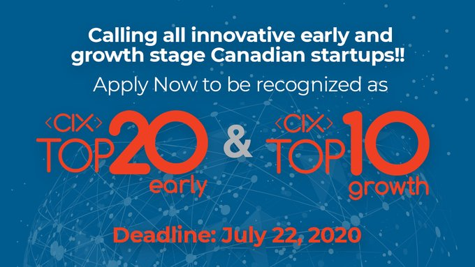 Calling all Startups! Get in front of North American investors. Apply to CIX Top 20 Early and CIX Top 10 Growth awards program, deadline is July 22 2020. #CIX2020 #CIXTop20 #CIXTop10  @CIXCommunity  https://t.co/t0WO8LBf00 https://t.co/S7Zc8ckojM