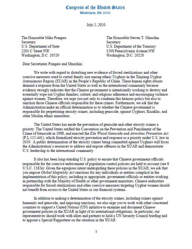 """The Chairs were joined by 76 members of the Senate and the House in sending a letter to the Administration seeking an """"atrocity crime"""" determination and sanctions for the forced sterilizations of #Uyghur women in #Xinjiang. https://t.co/6iy5g0RvAz https://t.co/OSYIY9qZDD"""