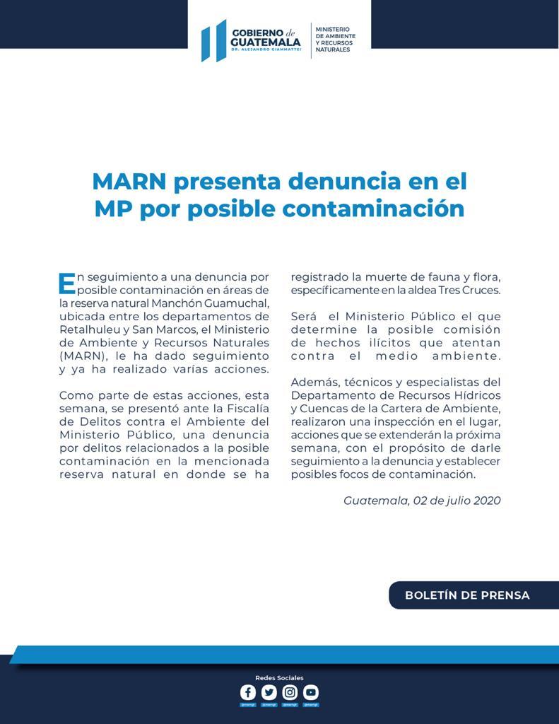 test Twitter Media - El MARN informa que presentó una denuncia ante el MP por posible contaminación en el Manchón Guamuchal. https://t.co/2i6hM7HaVM