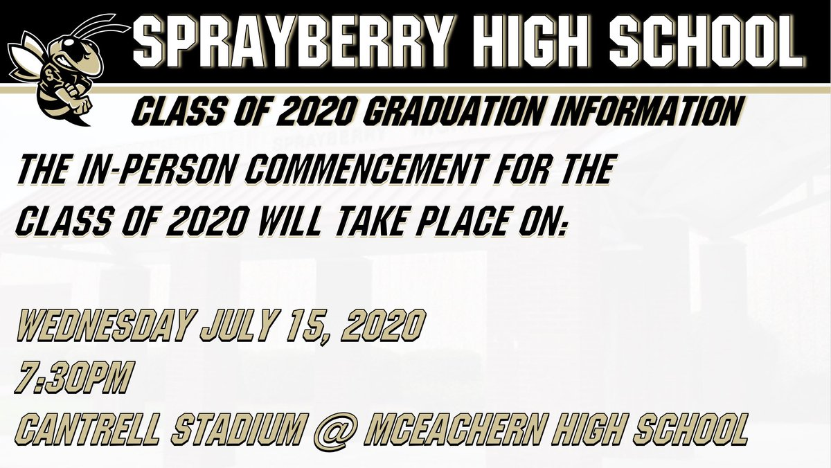 Class of 2020 In-Person Graduation Information! #shspositiveposting #wearesprayberry
