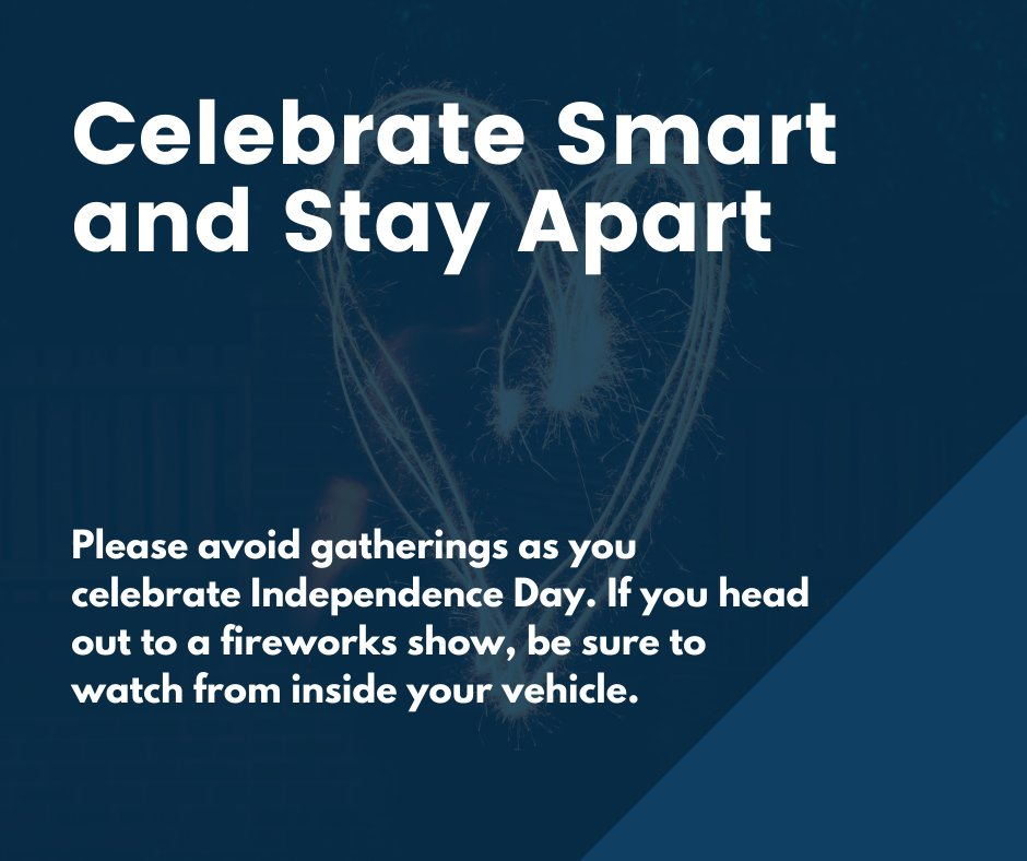 Celebrate smart & stay apart. Contact tracers have linked most new COVID-19 cases to private in-home gatherings of friends & family. Please avoid such gatherings as you celebrate Independence Day. If you head out to a fireworks show, be sure to watch from inside your vehicle. https://t.co/pLo8AE3CHS
