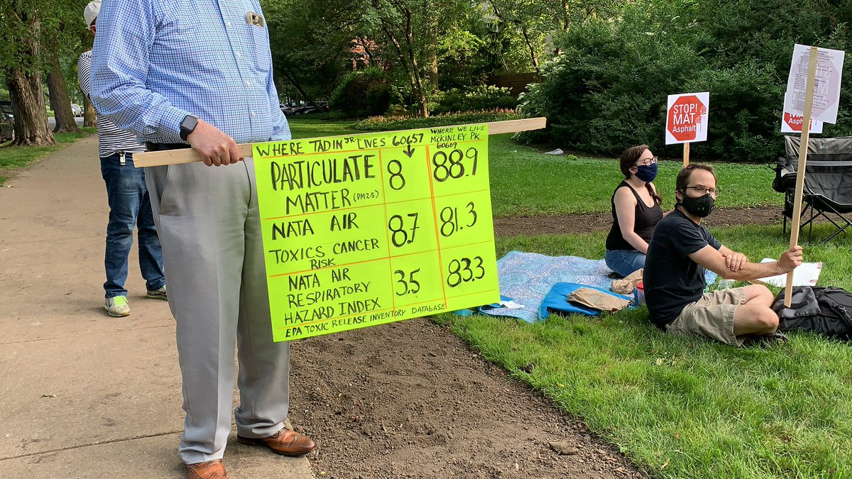 An organizer discusses these statistics which show drastic disparities in air quality, cancer risk rates and respiratory hazard index between 60657 (the zip code in which the Tadin family resides) and 60609 (McKinley Park area). #ChicagoProtests pic.twitter.com/QLxQpp8mWE