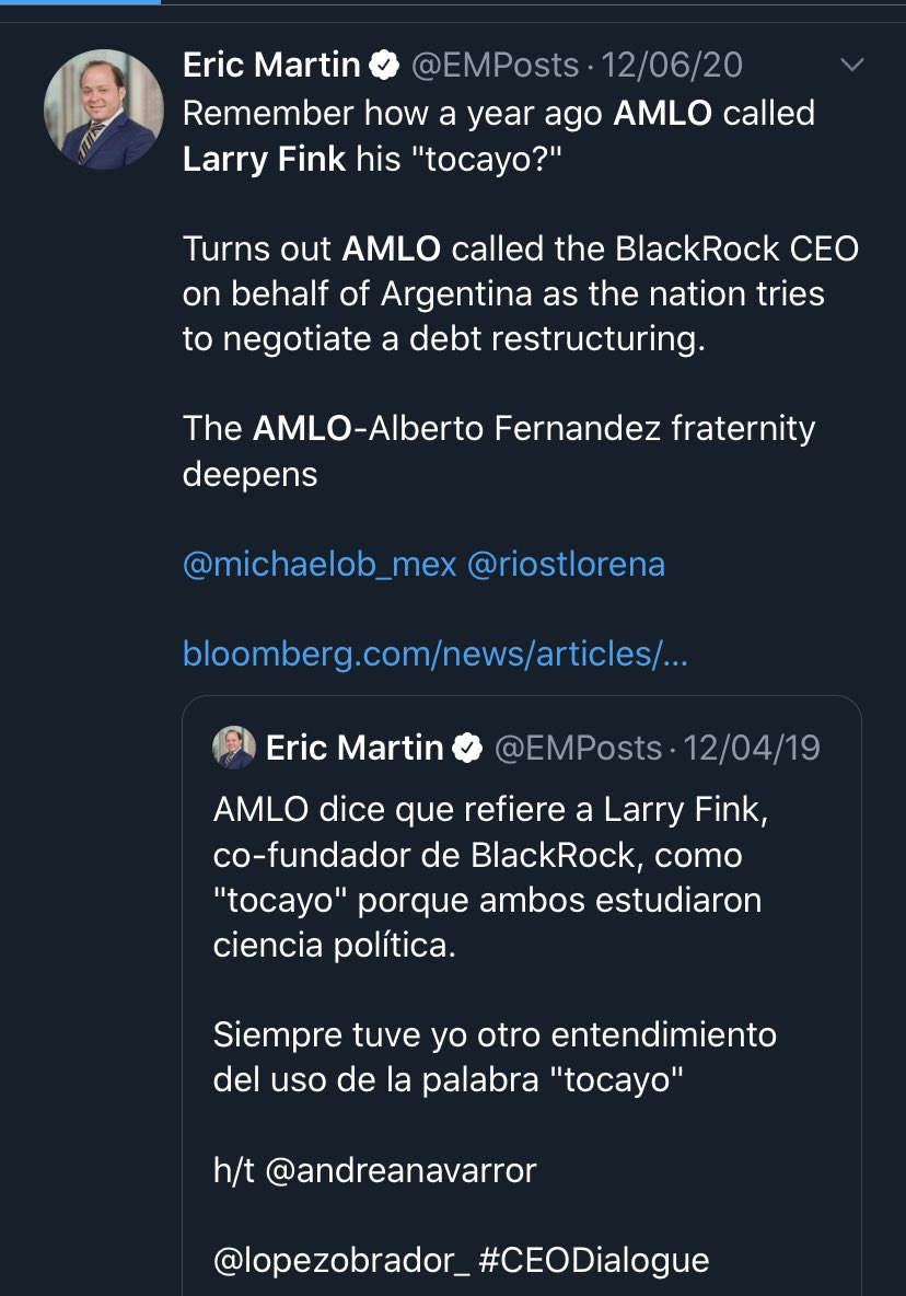 """Here is a screenshot of the """"Larry Fink, my tocayo"""" story as reported by @EMPosts 😎 https://t.co/cuq36ctFG5"""