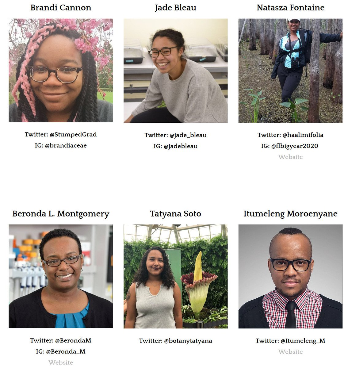 Let's get to know the amazing people behind #BlackBotanistsWeek! Thank you all for your science, leadership, energy, & so much more! In the coming days, we'll highlight each member of the organizing team - a small thanks for your big efforts! #BlackInSTEM #BlackAFinSTEM https://t.co/Cxw1KWcgpd