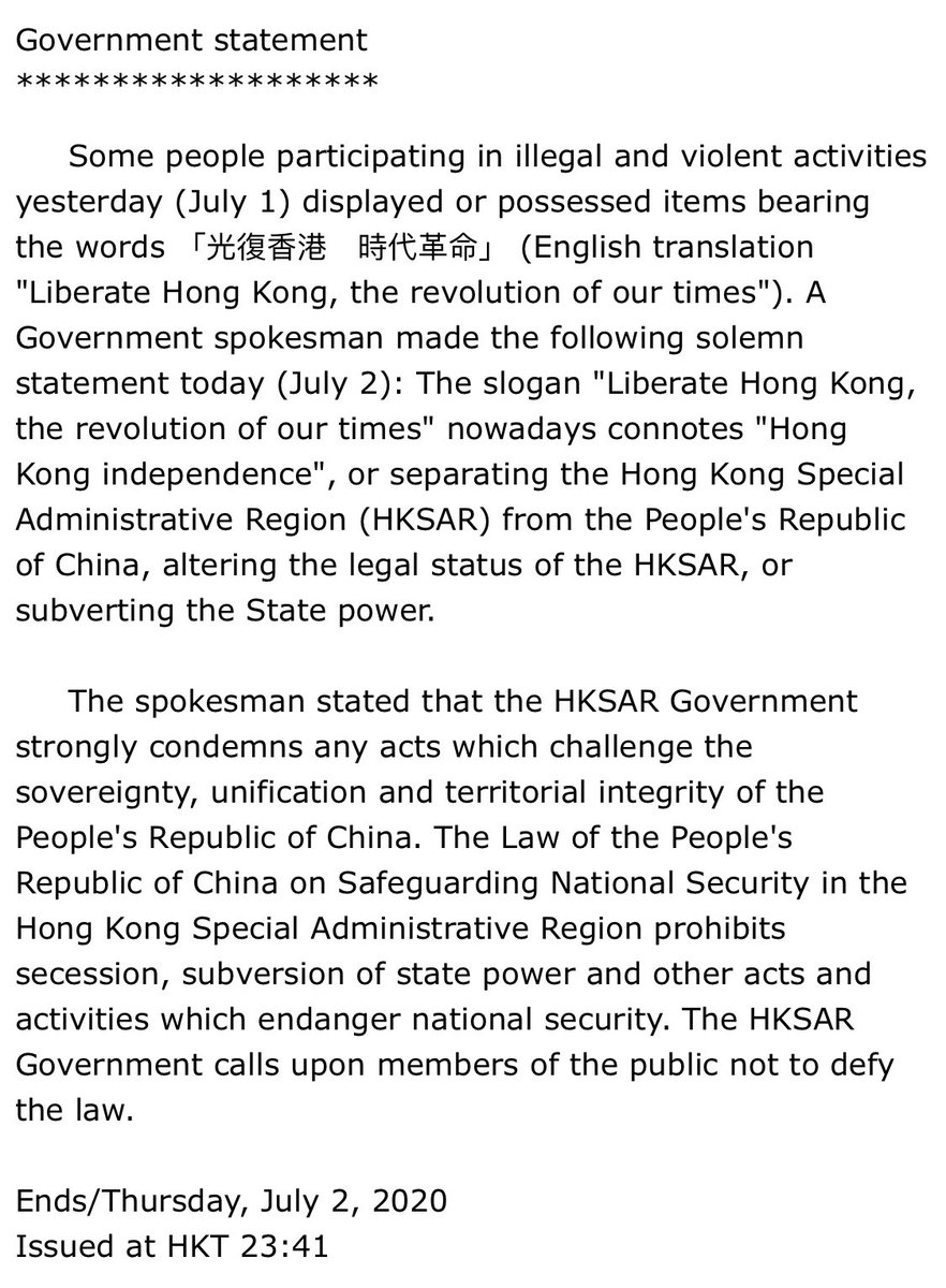 """HK govt's announcement of the ban on the slogan """"光復香港"""": the use of the word """"nowadays"""" is telling. This is what has become of HK's rule of law: nowadays, the meaning of the law changes on a dime based purely on govt diktat. No courts needed. https://t.co/Rc9YefAPZr https://t.co/uK18CwGvOG"""