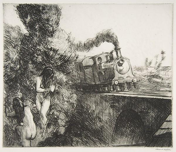 Train and Bathers, 1920 #hopper #newrealism <br>http://pic.twitter.com/3CdFoa5tAA