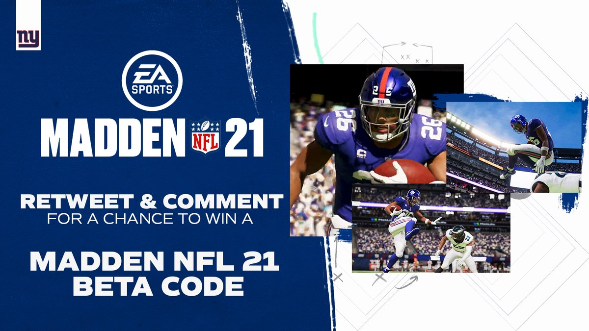 RT @Giants: Who wants a @EAMaddenNFL 21 code⁉️  RT & comment below 𝗫𝗯𝗼𝘅 𝗼𝗿 𝗣𝗹𝗮𝘆𝘀𝘁𝗮𝘁𝗶𝗼𝗻 ⬇️ https://t.co/CQLNxXkovM