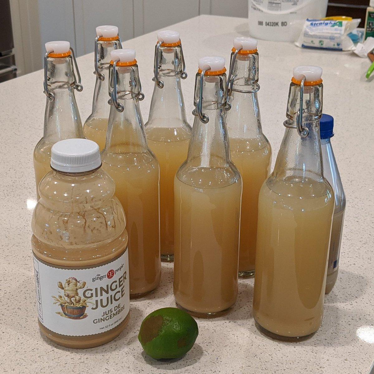 v3 Brown Paper Bag. Less ginger, less lime. Ginger People ginger juice instead of freshly juiced ginger. Pre-ferment tasted really nice, gentle but still a bit of a bite. Now I have to wait 48 hours  #gingerbeer pic.twitter.com/zoshnoYt5G