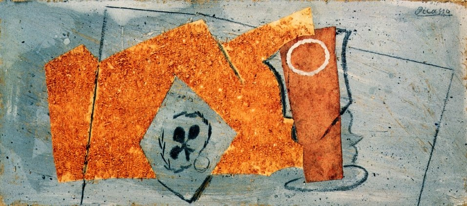 Playing Card and Glass, 1914 #syntheticcubism #pablopicasso<br>http://pic.twitter.com/g91F6QiWpd