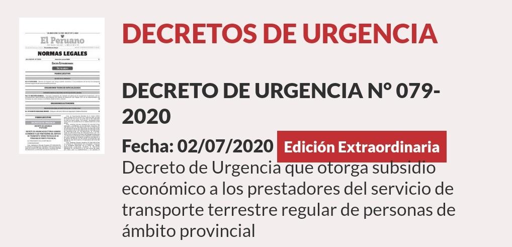 📣 ¡Atención! Se publicó el #DecretoDeUrgencia que otorga subsidio económico a los prestadores del servicio de transporte terrestre regular de personas de ámbito provincial.  📄 https://t.co/GVrm0Xdk7U  #PrimeroMiSalud https://t.co/GwihF8rCcR