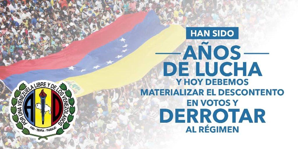 En @ADemocraticaV vamos de frente y dando la cara. El pueblo está molesto e indignado con el régimen de Maduro, y de nuevo los derrotará en las urnas electorales. Somos la expresión de la gente y el voto es un clamor nacional para salir de la tragedia que vivimos. #ADelante