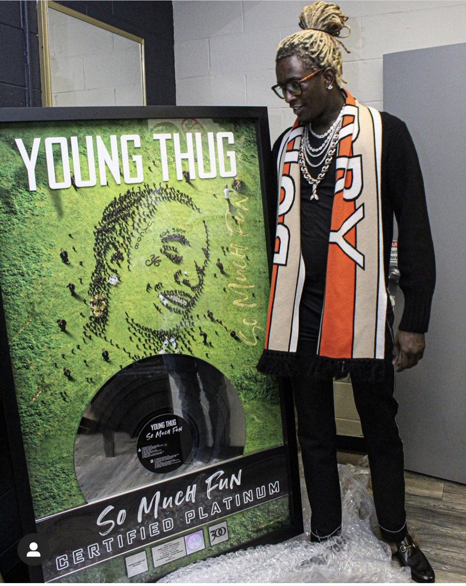"""Young Thug shows off his platinum plaque for """"So Much Fun"""". What would u rate this album out of 5??"""
