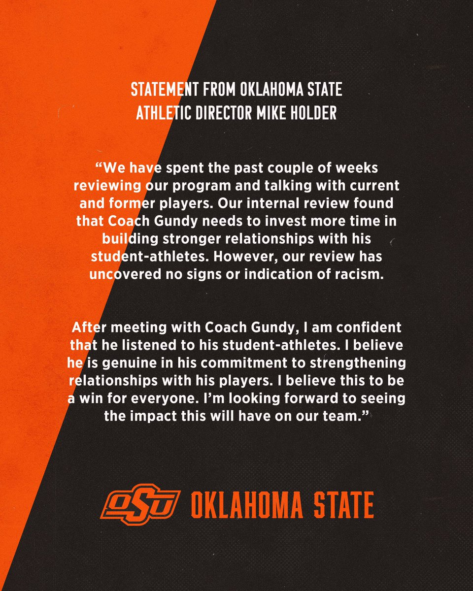 A statement from OSU Athletic Director Mike Holder.<br>http://pic.twitter.com/1eOSujRiNv