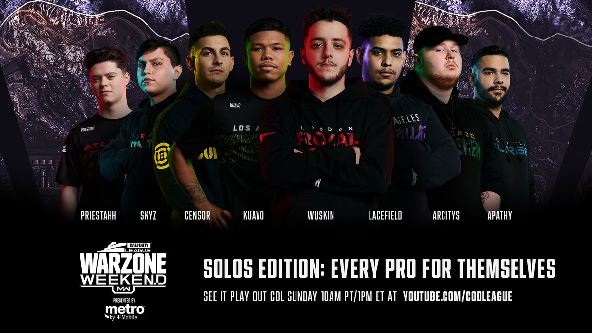 60 pros and coaches drop in to Verdansk. 🪂 It's time for the solos edition of Call of Duty League #Warzone Weekend presented by @MetroByTMobile! youtube.com/watch?v=OlyTIj…