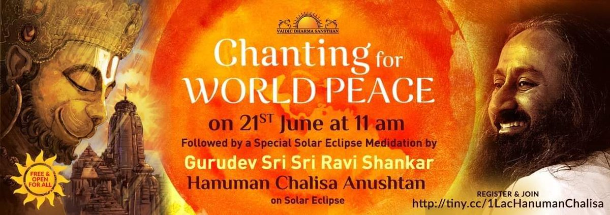 Join at 11am today, chant #hanumanchalisa followed by live meditation with @SriSri nullify any bad effects of #SolarEclipse2020  #WorldMeditates https://t.co/JFtaqZpdu9