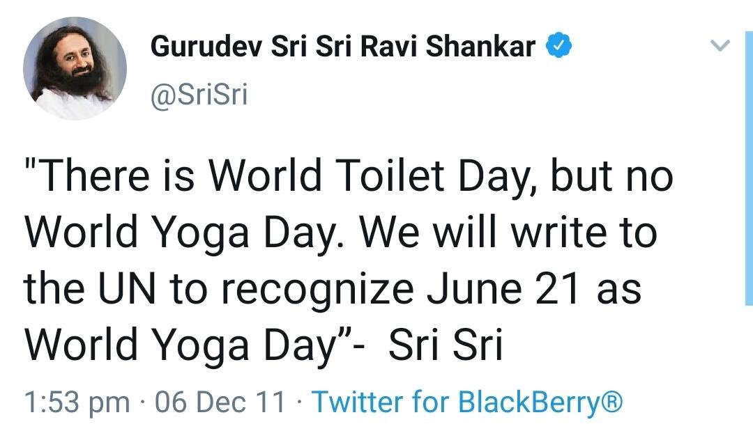 9 years ago a seed by Gurudev @SriSri & now it is being nurtured as #InternationalYogaDay !  #Gratitude #Internationalyogaday2020 #WorldMeditates #SriSri #Gurudev https://t.co/xcCoMFTLdZ