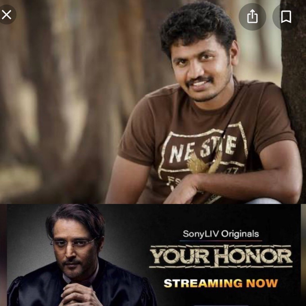 """This Boy from Ananthapur who ran off from his Home to make a career in Tollywood, finally made it to Bollywood and won a National award with his first film """"SHOOL"""" when he was 23 @ENiwas !! Loved his debut series """"Your Honour"""" on @SonyLIV .. Please watch https://t.co/fmWyfW3rHQ"""