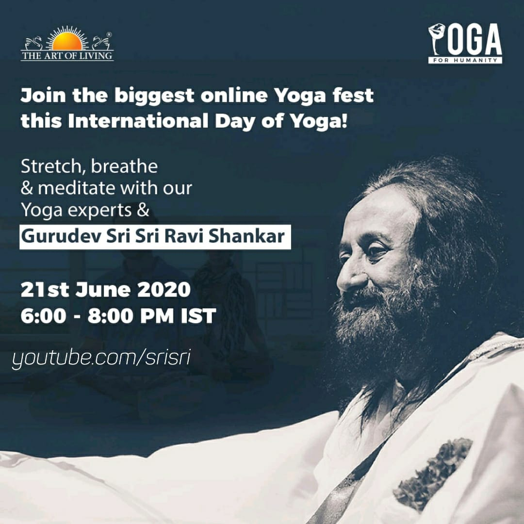 Join the biggest online Yoga Festival this International Day of Yoga with Gurudev Sri Sri Ravi Shankar Ji  21st June 2020 6:00 - 8:00 PM (Indian Time)  https://t.co/TwqGcVCaDR @moayush @PMOIndia @narendramodi @ArtofLiving  #YogaForHumanity #WorldMeditates https://t.co/uVRw8vNJE6