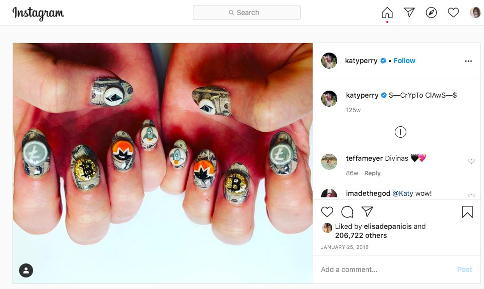 Do you remember Katy Perry Posted Her New 'Crypto Claws' On Instagram? It is more than 2 years ago 😳 Katy PerryがInstaに仮想通貨のネイルアートを投稿したのが懐かしいですね。コロナが流行ってからずっと自爪でしたが私もそろそろCrypto Claws再開したいです。