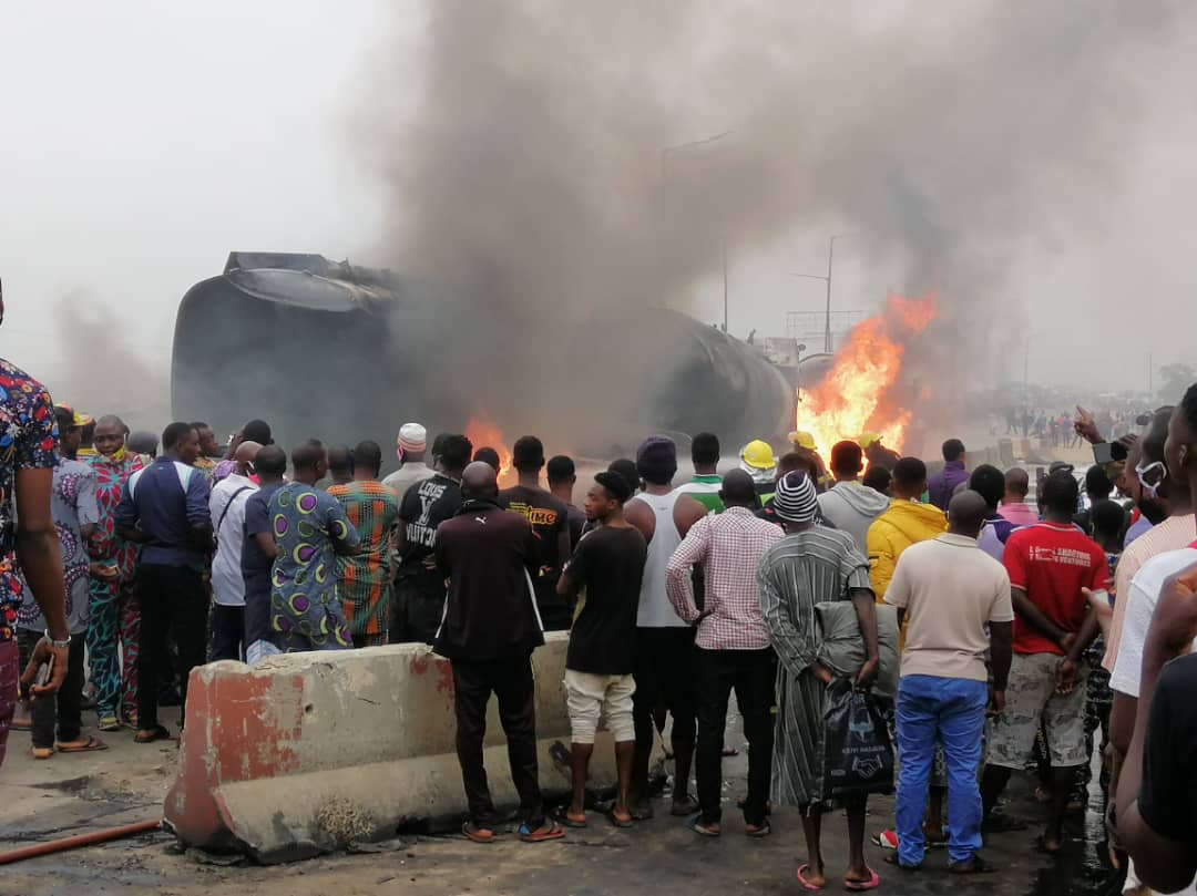 Flames On Kara Bridge In Lagos