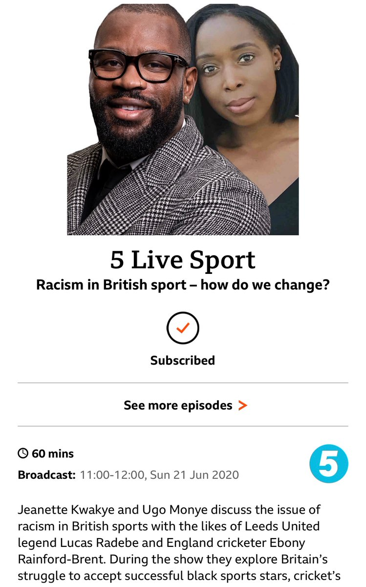 Big show coming up on @bbc5live this morning. Myself and @ugomonye drill down into systemic racism in sport. We all know how it makes us feel, but what needs to change? Some GREAT guests. From 11am. https://t.co/CXKr6ZWNXX