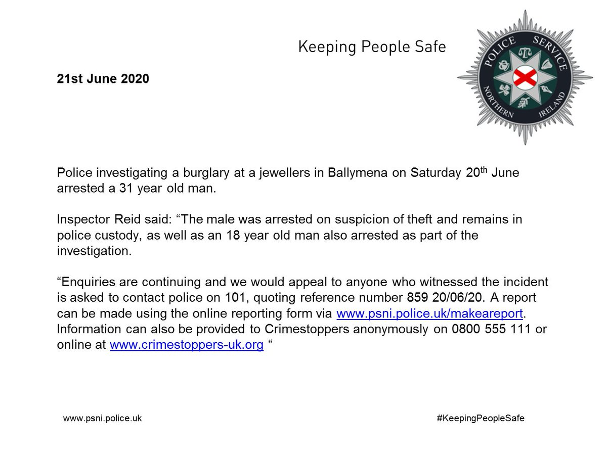 Second man arrested following burglary in Ballymena on Saturday 20th June.