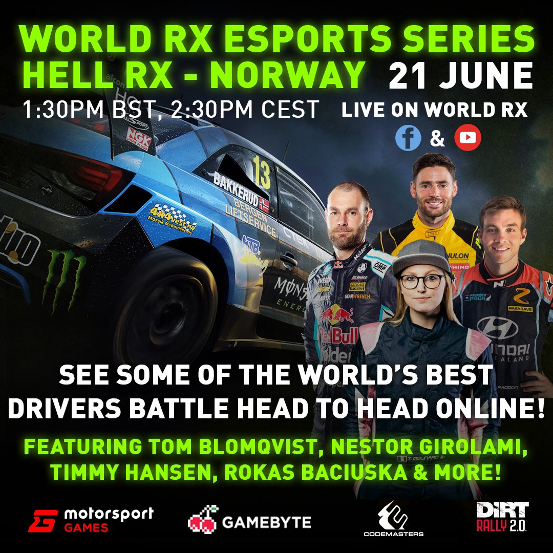 Are you ready? World RX Esports round two Hell-Norway at 1330 UK / 1430 CET today. Watch live on our Facebook and YouTube channels. #WorldRX https://t.co/LWeQk1ar5V