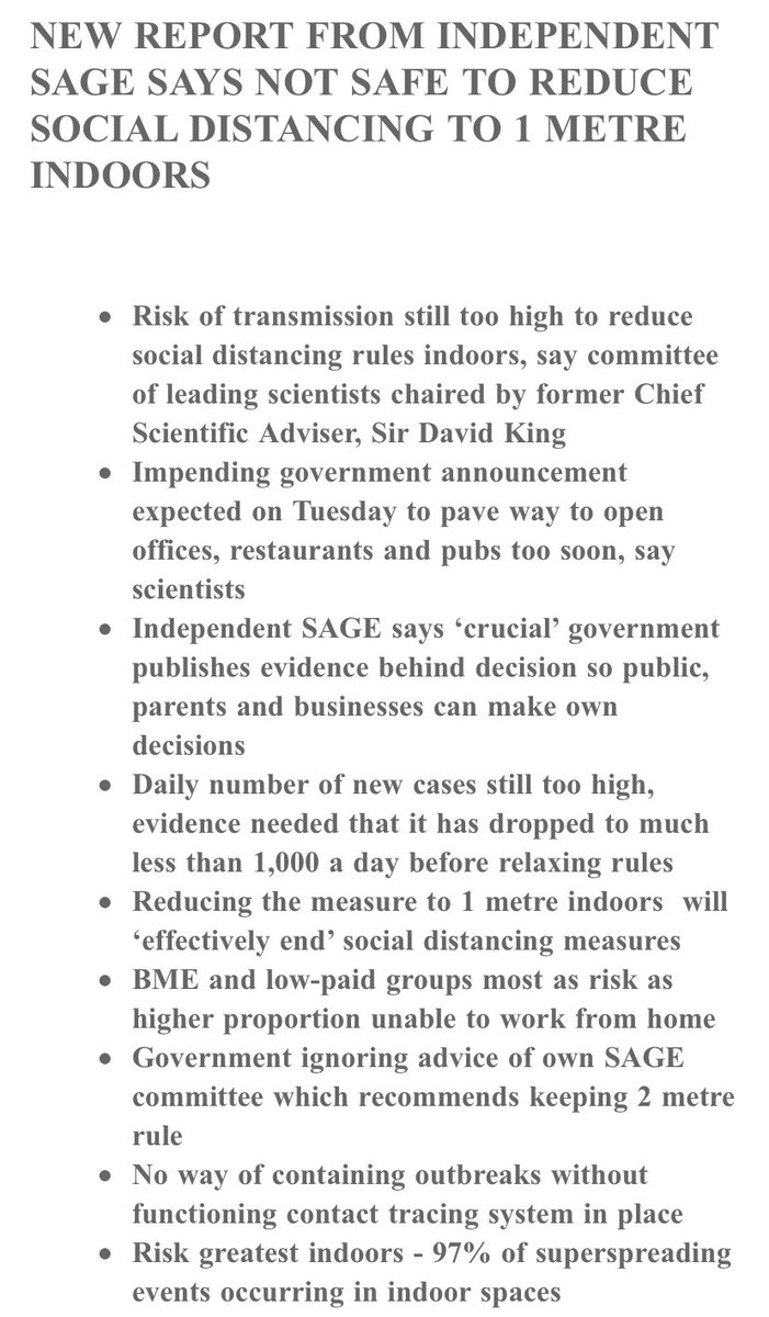 NEW: Independent SAGE has evaluated the scientific evidence on social distancing & concludes it is not safe to reduce it from 2m to 1m indoors as government proposes