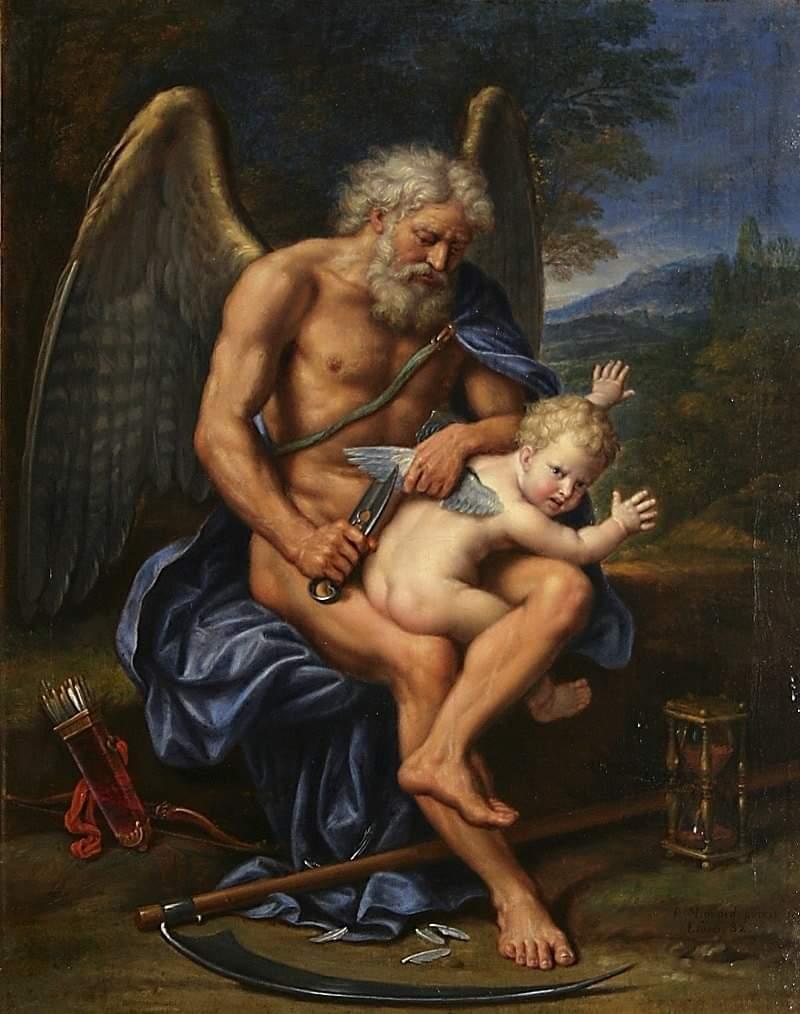Zaman tanrısı Kronos, âşk tanrısı Cupidin kanatlarını kırpıyor. Zamanın âşkı zayıflattığına dair bir imâsı Pierre Mignardın.