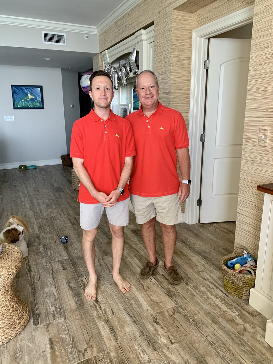 Happy Father's Day to the best dad out there! Good to know mom thinks we both look good in coral polos