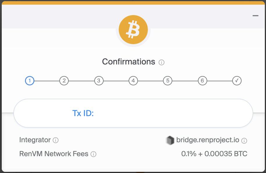 1/ The process was pretty smooth. @renprotocol made it really easy to acquire renBTC from BTC. 1. Deposit BTC into an empty address they provide 2. Connect ETH address via @3boxdb 3. Wait for 6 confirmations and trigger a transaction to send you the renBTC