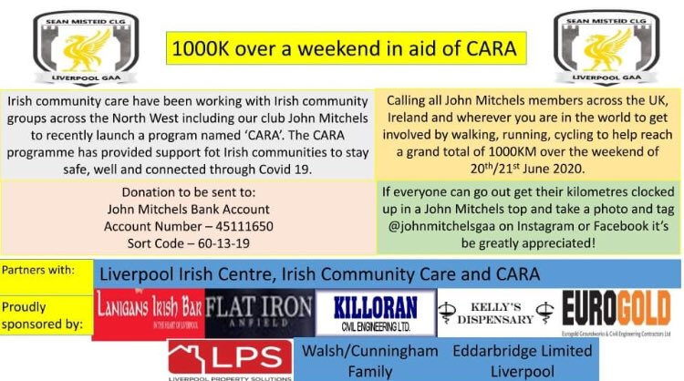 Please donate to @JohnMitchelsGAA today, they have been an incredible help to CARA during COVID19. Every donation will ensure the most vulnerable members of our communities are supported during COVID19 & beyond 🇮🇪😊