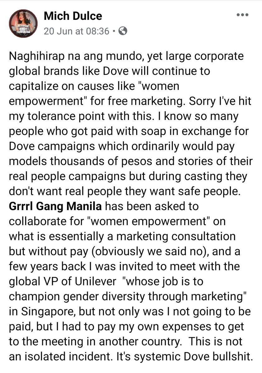 """Hi @un_stereotype ! We are tired of Dove (a Unilever brand) consistently using """"women empowerment"""" as a guise for unpaid labor in the field of advertising for free marketing. They've been doing it for years. Can you help us make them change their strategies? #EmpowerUsForReal https://t.co/LsM3F4ePAB"""