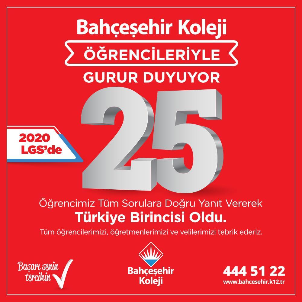 Bizlere bu gururu yaşatan tüm öğrenci, öğretmen ve velilerimizi tebrik ederiz.👏🏼👏👏  #bahçeşehirkoleji   #lgs2020 #25TürkiyeBirincisi  #zirvedeyiz https://t.co/LIdDCFkVfM