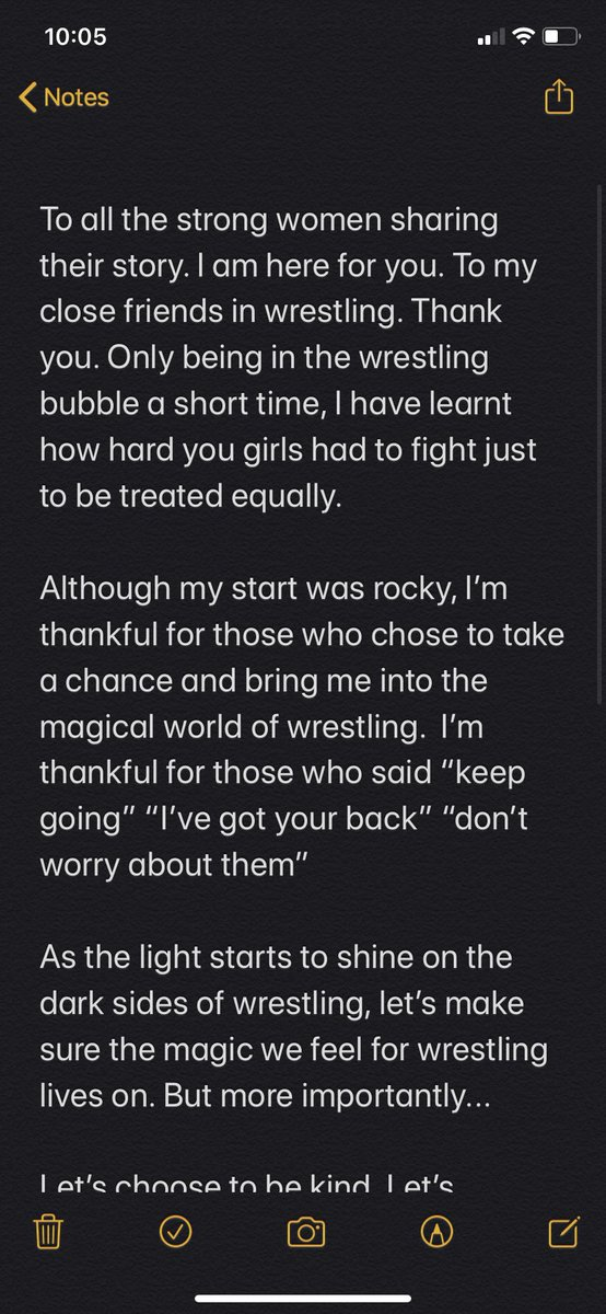 Thank you to all the brave victims for sharing their story.   Let's choose to do better. #SpeakingOut #prowrestling pic.twitter.com/eE0Vq4gfcs  by Nikki Brown💎