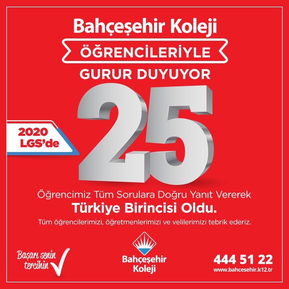 Değişmeyen başarı, her zaman Bahçeşehir Koleji❤️💙Gururluyuz #bahçeşehirkoleji #lgs2020 #25TürkiyeBirincisi #zirvedeyiz https://t.co/5Dfse0VNA2