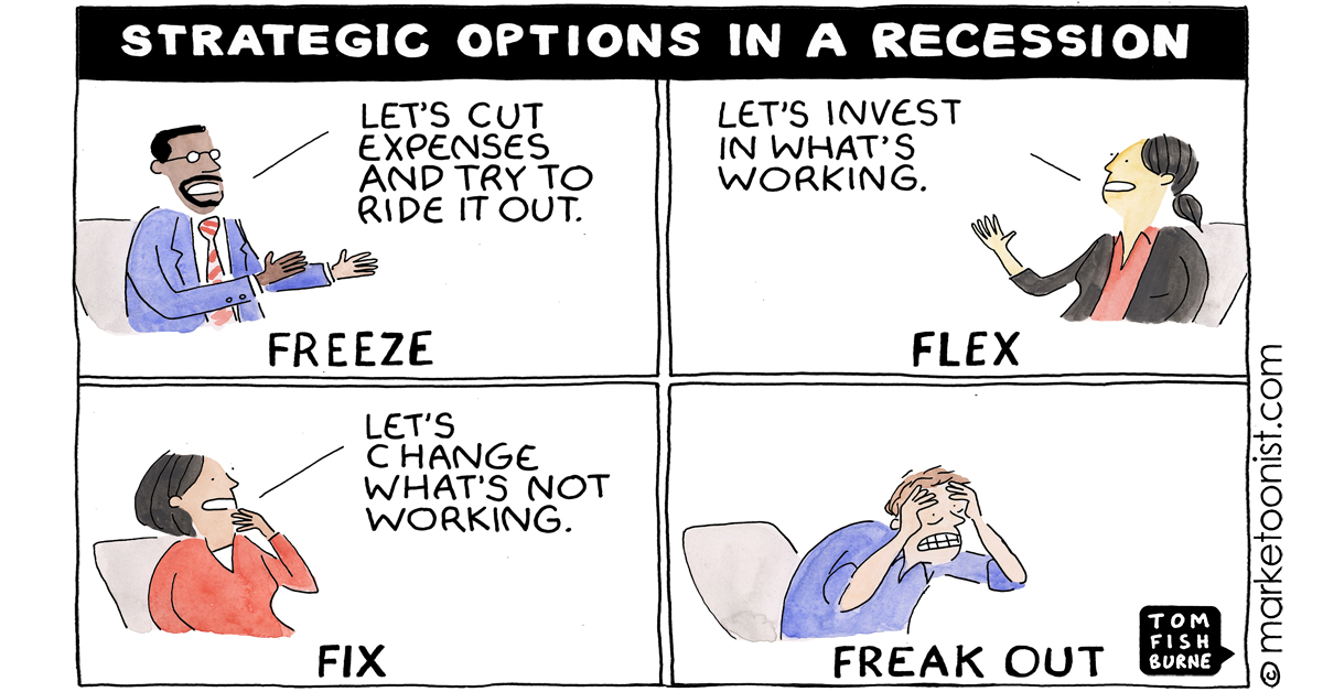 "Tom Fishburne on Twitter: """"Strategic Options in a Recession"" - new cartoon  and post, inspired by the ever-insightful @markritson  https://t.co/j61T2OkHDU #marketing #cartoon #marketoon…  https://t.co/tel6nEvIBp"""