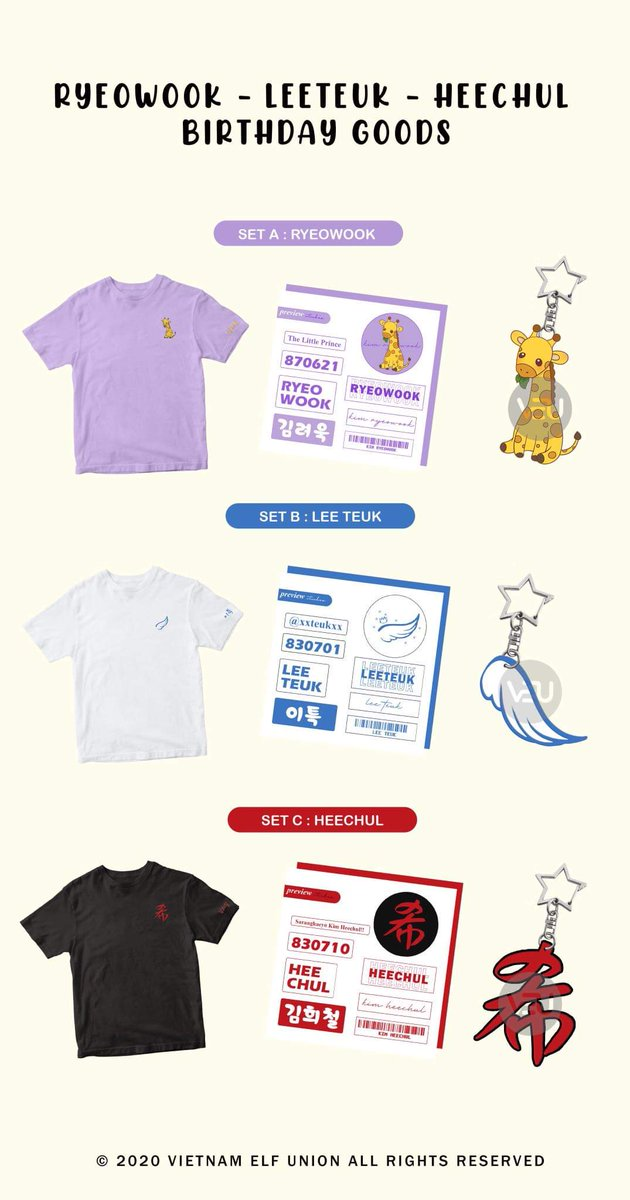 [BIRTHDAY GOODS PROJECT] RYEOWOOK - LEETEUK - HEECHUL.  Each set includes:  💜1 designed embroidery t-shirt for individual member. 🤍1 sticker set. ❤ 1 arylic keyring.  Open for WW orders. If you want to open G.O please dm us.  Thank you. 💜🤍❤ #SUPERJUNIOR #VietnamELF #VEU https://t.co/XVUQBSvdNw