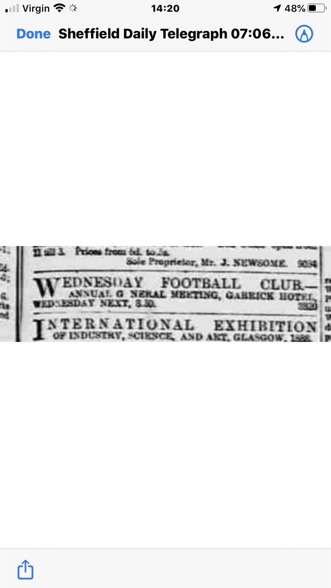 A piece of history in June 1887, it was this meeting in mid June that saw Sheffield Wednesday decide to become a professional club and without such a decision the club would certainly have gone out of business. Sheffield Daily Telegraph Tuesday 7 June 1887. https://t.co/qGjshnHh5T