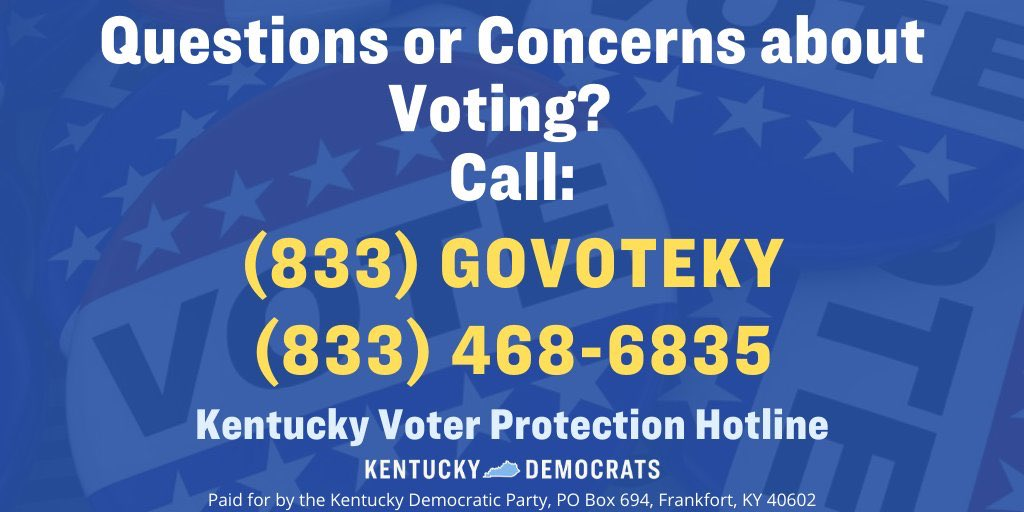 There are 3.4m registered voters in Kentucky who now have only 200 polling places. Share this to help @KyDems.  1) Didn't get an absentee ballot? You can vote in-person. Your polling place is likely different than before. Call below for help.   2) Got a ballot? Drop/mail by Tues! https://t.co/JBczU8S4yc