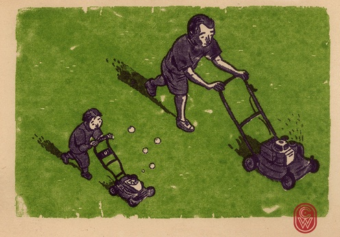 Happy Fathers Day, to all the kids big and small. #FathersDay #lawnmower #illustration #screenprint #gocco
