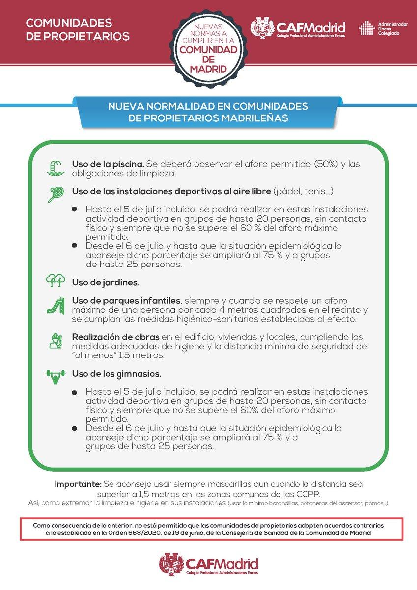 Nuevas infografías sobre cómo afectan a las comunidades de propietarios las medidas preventivas establecidas por la @ComunidadMadrid. https://t.co/AN4cktMB9K