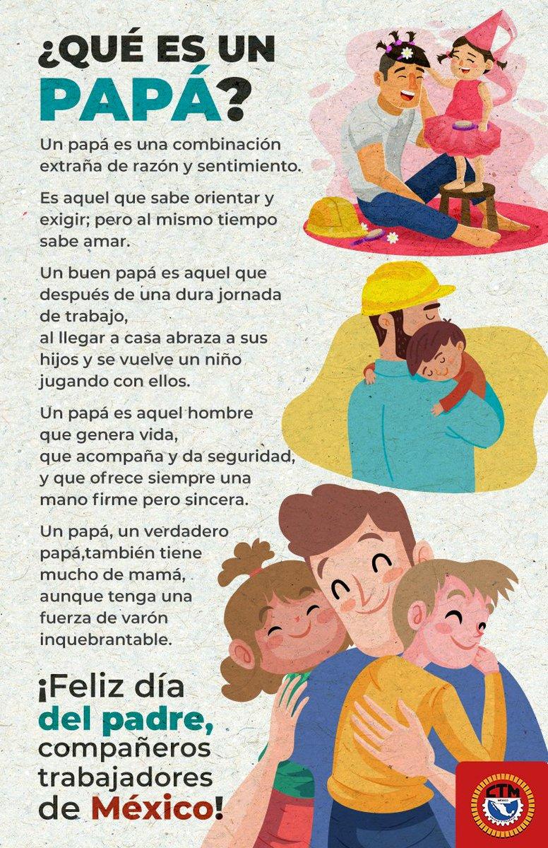 Hoy felicito con gusto a todos los padres trabajadores de México; a mis compañeros del Comité Nacional de la @CTM_MX; a los líderes de las federaciones y sindicatos nacionales; y a todos mis amigos que tienen la dicha de ser padre.  Les mando un fuerte abrazo. #FelizDíaDelPadre https://t.co/ToKwtvtDr9