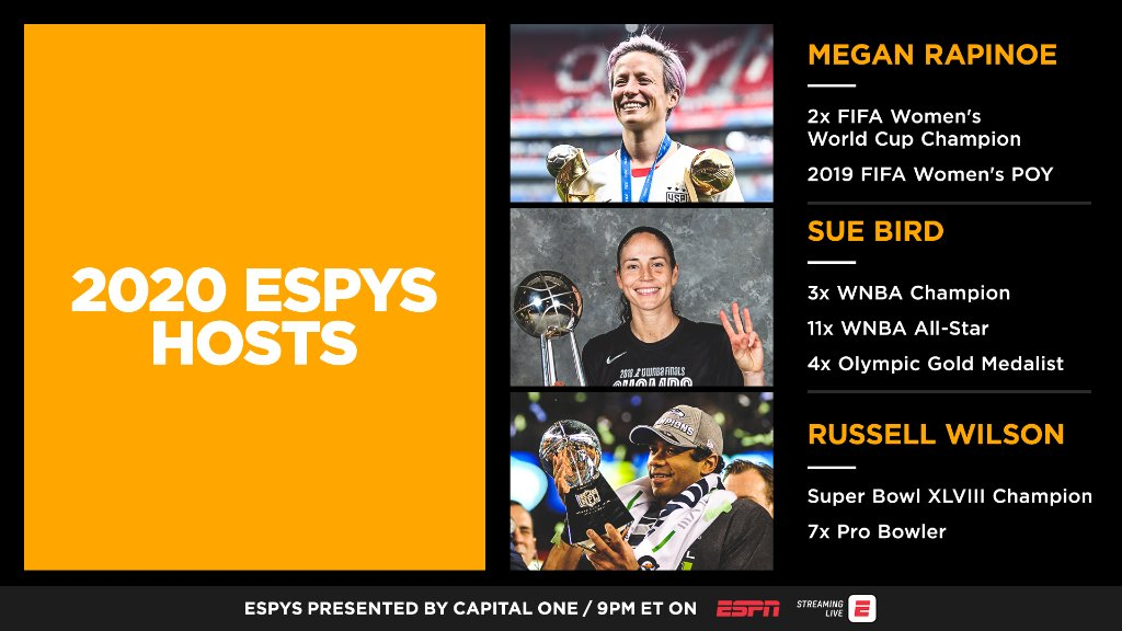 Our ESPYS hosts are stacked with talent 👏 @mPinoe | @S10Bird | @DangeRussWilson