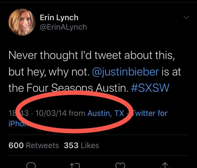 The other reason this story might say I was staying at the four seasons was because a tweet from 2014 on March 10th not the the 9th says they saw me there . This is that tweet
