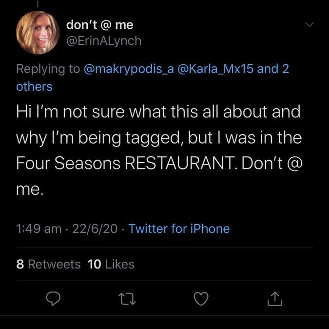 However I never stayed at the four seasons on the 9th or the 10th. This person put another tweet up earlier saying they saw me at the restaurant the following night not the hotel https://t.co/K4WHNRlC6k
