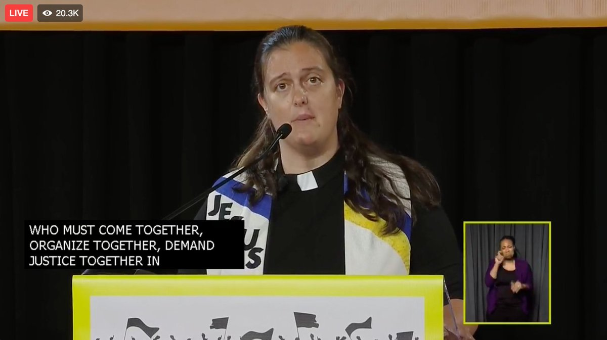 """Jesus turns over tables, engages in holy disruption, commits himself, even unto death, to demand justice for the poor."" @liztheo #PoorPeoplesCampaign  For more, join us for Freedom Church of the Poor each Sunday night at 6 PM ET on our Facebook page! https://t.co/SqUNyotpSR https://t.co/ewevdOIDYf"