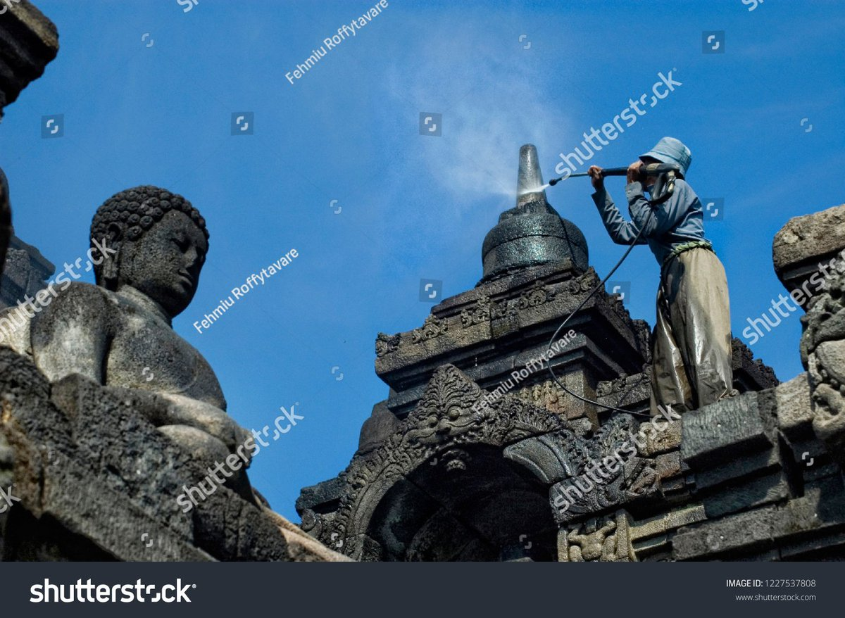Cleaning Borobudur Temple from dust after eruption of Merapi Mountain  photo ID: 1227537808 http://shutterstock.com/?rid=217447611   #borobudurtemple #eruption #MerapiNews #volcano #destination #travel #dailynews #new #todaypic.twitter.com/POb93mFlB2