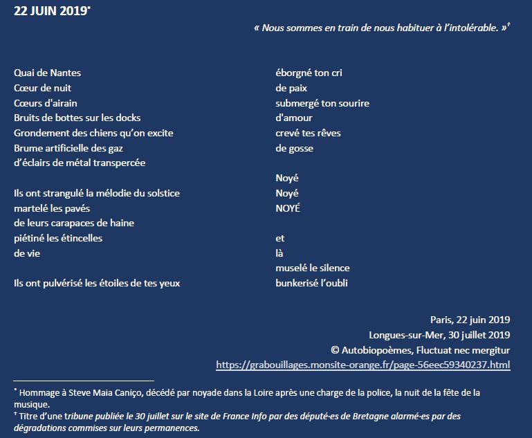 22 JUIN 2019 Hommage à Steve Maia Caniço, décédé par noyade dans la Loire après une charge de la police, la nuit de la fête de la musique. Les #ViolencesPolicières cest toujours non ! #justicepoursteve et toutes victimes des violences dÉtat